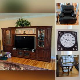 """MaxSold Auction: This online auction features crystal ware, Lenox, recumbent trike, furniture such as Thomasville table, Bassett dresser, electric leather recliner, entertainment center, glass top side tables, and sleeper sofa, board games, drone, dishware, costume jewelry, Bose speakers, Magnavox 23"""" TV, Sony Blu-ray player, books, CDs, LPs, small kitchen appliances, Yamaha keyboard, hammock, power tools, Hoover steam vacuum, Bowflex, Yamaha generator and much more!"""
