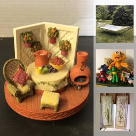 MaxSold Auction: This online auction features a Hammock, Summer party goods, Christmas & Holiday decor, Sewing supplies, Self-care & Beauty, Small Kitchen Appliances, Food prep, & gadgets, Plant holders, Cookbooks, Yard & Garden Grooming tools & Supplies, Stuffed animals, China and much more!