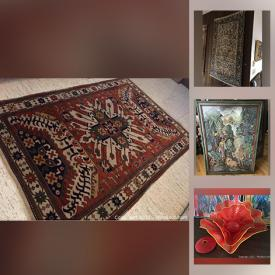"""MaxSold Auction: This online auction features antique and vintage Persian and Oriental carpets. Original watercolor by celebrated """"Bambi"""" artist Tyrus Wong. Early stunning studio art glass set by artist Robert Kaindi. Original early works Bali artist Rai. John Hein custom wood coffee table. Large vintage Steuben pieces. Stamp collection. Original watercolor Hungarian artist Istvan Szigethy. Original oil by R.H. Kilian. Original watercolor by Philip Jamison. Antique oil painting by Richard Beavis. Barn scene oil by Everett Woodson and much more!"""