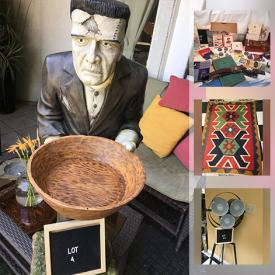 MaxSold Auction: This online auction features a Frankenstein butler with tray, Chum's Annual books, The World of Robert Bateman book, vintage maps, belts, rare prints, frames, rock collection, linens, wool blanket, file cabinets, bedding, stainless steel sink, needlepoint, water feature, vintage picnic basket, tri light lamp, handmade wall hanging, table runner, area rugs, vintage suitcase and much more!