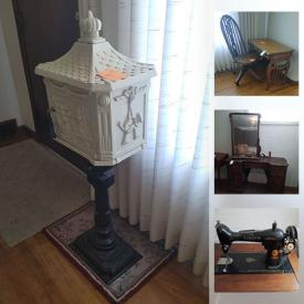 MaxSold Auction: This online auction features Vintage Singer Sewing Machine, Cabinets, Office Supplies, Sewing Notions, Vintage Furniture, Lamps, Cookbooks, Nintendo, Cast Iron Mail Box and much more.