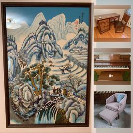 MaxSold Auction: This online auction features Story and Clark piano, furniture such as Italian provincial chair, side tables, teak table and chairs, and curio cabinet, area rugs, wall art, vintage glassware and much more!