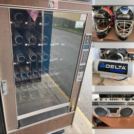 MaxSold Auction: This online auction features Snack Vending Machines, Coke Coolers, Horse Hair Bristle Brushes, Toilet Paper Dispensers, Small Kitchen Appliances, Yard Tools, Beer Tap Handles, Air Compressor and much more!