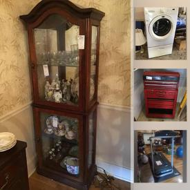 MaxSold Auction: This online auction features furniture such as a glass top table and chairs, lounge chairs, metal shelving, bookcases, dresser, chairs, curio cabinet, buffet, child's table, Pingpong table, chairs, dressing table, china cabinet, dining table and chairs, hall tree and more, grandfather clock, resin flowers, mirrors, Mikasa china, serving ware, Wedgwood, The Fairy Collection, telephone, Affinity washer, tools, ladders, barometer, Exerpeutic Walk to Fit treadmill, vintage barware, glassware, piano, lamps, Sports items, Drill press, Makita miter saw and much more!