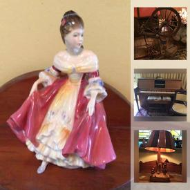 MaxSold Auction: This online auction features a Hoosier Cabinet, Player Piano, many Royal Doulton figures & Bunnykins tableware, Signed Original Artwork, DVD boxed sets, Antique Solid Wood Furniture, Teddy Bears, Gund, Artisan Pottery and Ceramics, Retro toys, Fitz & Floyd, Christmas, Tonka, Corgi, Vintage sleds, Hummel, Geologists samples, Game tables, Disney memorabilia, Dolls, Barbie and much more!
