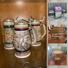 """MaxSold Auction: This online auction features baby grand piano, fine china, furniture such as dining chairs, kitchen table, work tables, and dresser with mirror, metal wall art, CharBroil grill, Yamaha keyboard, Lego, lamps, power tools, hand tools, glassware, Blu-ray player, DVDs, computer monitors, 26"""" Toshiba TV, books, sports equipment, Christmas decor, Lane Cedar trunk, dishware, pottery, LPs and much more!"""