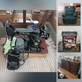 MaxSold Auction: This online auction features crystal ware, Hummel, furniture such as dresser, side tables, secretary desk, vintage saddle bench, vintage dining table with chairs, and Delta electric bed, luggage, kitchenware, glassware, holiday decor, wall art, sign printing machine, small kitchen appliances, cookware, costume jewelry, tabletop BBQ, gardening tools and much more!