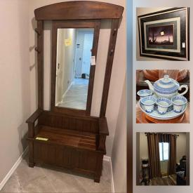 MaxSold Auction: This online auction features furniture such as a side nightstand, chair, dresser, china hutch, black cabinet, table, hall rack, chaise lounge, dining chairs, outdoor chairs and more, mirror and pedestal, glass decor, wall clock, faux trees, hall rack, pillows, linens, Loredo boots, Marc Fisher boots, purses, wall decor and much more!