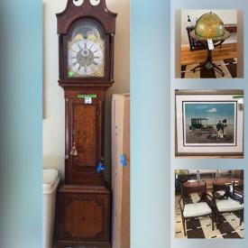MaxSold Auction: This online auction features an Antique Grandfather's Clock, MCM Furniture including Mitchell Gold & Bob Williams, Hekman, Hickory, Vintage Solid wood Furniture, Walnut dining room set, Signed Numbered Prints by Jan Balet and much more!