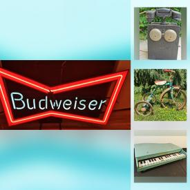 MaxSold Auction: This online auction features Signed Folk Art & carvings, Neon signs, Breweriana, Antique salvage, Hudson Bay blankets, Garden Figures, Vintage hats & hat form, Fitness Equipment & Sporting Goods, Pop culture collectibles, Mid Century swag lamps, Jewelry, Outdoor Patio furniture, Greenhouse Growing station, Telescope, Mid-Century Glassware, Dinnerware & Kitchen sundries, Sterling cutlery, Small Kitchen Appliances, Food prep, & gadgets, Royal Doulton figurines, Toys, Child's piano and much more!