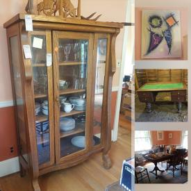MaxSold Auction: This online auction features furniture such as dresser with mirror, rocking chair, vintage entertainment center, and vintage secretary desk, glassware, stemware, signed wall art, pottery, vintage hi-fi, costume jewelry, area rug and much more!