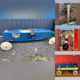 MaxSold Auction: This online auction features Soap Box Derby Vintage Racer, Tike Trike, LPs, Outdoor Chairs, Coins, Banknotes, Sports Cards, Vintage Johnny West Action Figure, Art Glass, Vintage Jerseys, Vintage Toys, Jewelry, Comics, Vintage Books, Cast Iron Skillets, Mitre Chop Saw, Brass Swan, Rain Stick Dijjerido and much more!