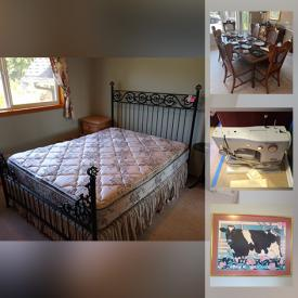"""MaxSold Auction: This online auction features fine china, silver plate, Whirlpool freezer, furniture such as wooden dining table, dining chairs, hutch, couch, electric recliner lift chair, and media center, framed wall art, lamps, 52"""" Sony TV, Bose system, books, window treatments, area rugs, small kitchen appliances, cedar hope chest, holiday decor, automotive supplies, costume jewelry, horse saddles, telescope, Wii console, shelving unit, handbags, outdoor swing, yard art and much more!"""