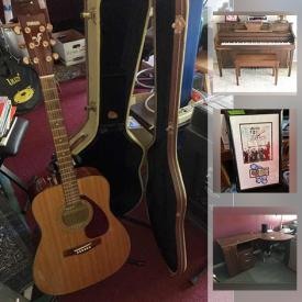 """MaxSold Auction: This online auction features upright piano, Squier electric guitars, acoustic guitars, Ludwig drums, sports memorabilia, furniture such as office desk, suede sofa, and bunk beds, wall art, filing cabinet, CDs, costume jewelry, Sony stereo, power tools, work table, shelving units, vacuums, golf clubs, yard tools, metal lockers, CharBroil grill, fog machine, DVDs, 50"""" Samsung TV, Yamaha soundboard, PS2 games, Kenmore refrigerator, movie and band posters, office supplies, sports jerseys, workout equipment, lighting equipment, bicycle, batting cage, basketball hoop, storage shed and much more!"""