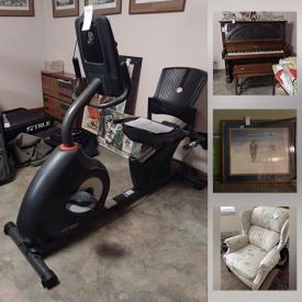 MaxSold Auction: This online auction features Artwork, Furniture, Cameras, Sewing machine, Sewing Notions, Piano, Steamer trunk, Vintage Furniture, Antique And Vintage Books, Fishing Gear, Golfing, Treadmill, Refrigerator, Men's Bolo, Miller Neon Sign, Riding Saddles and much more.