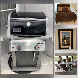 MaxSold Auction: This online auction features scuba equipment, wall art, lamps, furniture such as nightstands, bar stools, double chaise, dining table with chairs, and Broyhill dressers, dishware, glassware, linens, gardening supplies, Weber grill, outdoor furniture, women's and men's footwear, women's and men's clothing, Bose stereo, wall art, books, garage cabinets, fishing gear, kitchenware, bakeware, small kitchen appliances and much more!