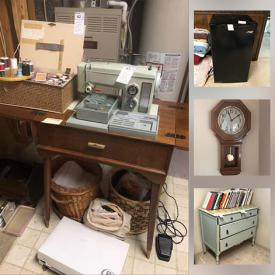 MaxSold Auction: This online auction features Vintage Stereo Equipment & Components, Artisan Pottery and Ceramics, Home electronics, Chest freezer, Toys, Games, Antique & Vintage Solid Wood Furniture including Oak school desk & record cabinet, Homecare & Cleaning supplies, Office Furniture, Equipment & supplies, Small Kitchen Appliances, Food prep, & gadgets, Noritake china, Haviland, Mid-Century Glassware, Dinnerware & Kitchen sundries, Canning supplies, Auto care, Maps, Sewing Machine & notions, Mobility aids & Eldercare, Yard & Garden Grooming tools & Supplies, Hand Tools & Hardware, Workshop Power Tools & Equipment, Clocks, Linens and much more!