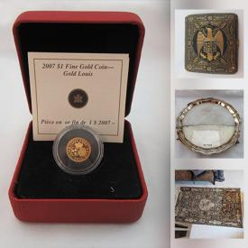 MaxSold Auction: This online auction features Coins, Banknotes, Carved Figurines, Vintage MCM Jewelry, Vintage Tokens & Badges, First Nations Art, Carved Jade, Chinese Vase, Spanish Silver, Art Glass, Wedgwood Vase, WWII-era Trench Art, Hallmarked Sterling Silver Pendants, Persian Silk Rug and much more!