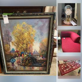 """MaxSold Auction: This online auction features crystal ware, silver plate, furniture such as chaise lounge, entertainment center, dresser, vintage desk, and dining chairs, sports equipment, filing cabinet, area rugs, costume jewelry, small kitchen appliances, dishware, glassware, mantel clocks, 30"""" LG TV, framed art, CDs, albums and much more!"""