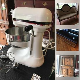 MaxSold Auction: This online auction features crystal ware, Coalport china, furniture such as designer black leather couch, Victorian-style settee, antique mahogany chairs, and wooden cabinets, books, original wall art, CDs, DVDs, HP printer, Sony stereo, lamps, dishware, office supplies, tiling, small kitchen appliances and much more!