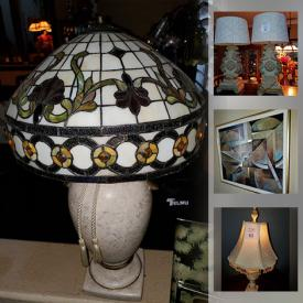MaxSold Auction: This online auction features Tiffany Inspired Lamps, Plant Stands, Vanity, China Cabinet, Decorative Boxes, Marble Lamps, Framed Wall Art and much more!