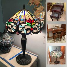 MaxSold Auction: This online auction features Tiffany-type Stained Glass Lamps, Lane Chest, Carved Nesting Tables, Watches, Sewing Notions, Animal Figurines, Barrister Bookcase, Sewing Machine, LPs, Tools, Tiller, Compressor, Garden Tools and much more!