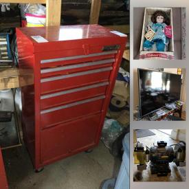 """MaxSold Auction: This online auction features crystal ware, silver plate, collector dolls, Lenox, fine china, furniture such as display cabinets, reclining loveseat, La-Z-Boy power recliner, hall table, and double bed, home decor, ceramic steins, 21"""" Dynex TV, 49"""" RCA TV, office supplies, books, crafting supplies, dishware, glassware, holiday decor, vintage toys, costume jewelry, small kitchen appliances, yard tools, hand tools, painting supplies, fishing supplies, Kenmore refrigerator, Kelvinator freezer, vintage salon equipment, gardening supplies, tool chests, lumber and much more!"""