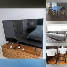 """MaxSold Auction: This online auction features 70"""" Samsung TV, Crate and Barrel furniture such as sofa, table and chairs, dressers, and bed frames, small kitchen appliances, glassware, area rug, lamps and much more!"""