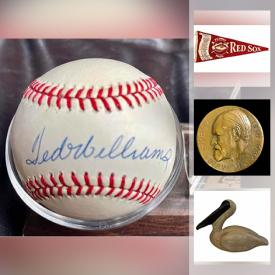 MaxSold Auction: This online auction features sports memorabilia signed by Roger Clemens, Mark McGwire, Yogi Berra, and Ted Williams, wall art, signed bird decoys, area rugs, 14k gold jewelry, stained glass chandelier, pottery, antique mantelpiece, Lladro, vintage 45s, vintage bronze ware, stone carvings, sterling silver jewelry, ceramics, vintage books, antique chairs, cherry chest of drawers, walnut curio cabinet, mid-century planters, silver dollars, Kewpie doll, vintage cameras and much more!