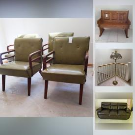 MaxSold Auction: This online auction features Singer sewing machine in table, upholstered chairs, outdoor shelf unit, wood chairs, melamine oak-look octagon end tables, hutch, white MDF cupboard, desk, entertainment cabinet, bedframe, dresser with mirror, dining table, wingback chair, floral quilted sofa and more, Tiffany style lamp, glassware, cut crystal, Royal Albert china, paper shredder, machinist vise, vintage child's horse, cookware, laundry items, medical aids, electronics, vintage crock, gardening tools, Foredom professional jewelry polisher, Stanley tool set, outdoor pot, casserole dishes, artwork, toys, books and much more!