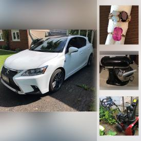 MaxSold Auction: This online auction features 2015 Lexus Hybrid, Diamond Anniversary Ring. Fine Jewelry & Watches, Loose Gemstones, Costume Jewelry, Stamps, Coins, Currency, Cameras & Accessories, Computer Gear, Collection Of Miniatures, Art Pottery, Puzzles, Stained Glass, TV, Art Glass, Electric Fireplace, LPs, CDs, Exercise Equipment, Office Supplies, Small Kitchen Appliances, Stove, Teapot Collection, Yarn, English Riding Saddle, Horse Tackle, Washer, Dryer, Power & Hand Tools, Photo Developing Equipment, Snowblower, Lawnmower and much more!