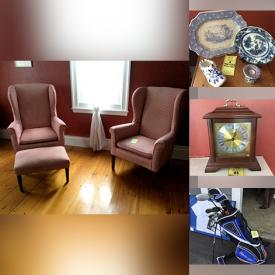 MaxSold Auction: This online auction features furniture such as wingback chairs, cedar chest, demilune table, 19th c table, pine drop leaf table, chairs, camelback settee, dresser, rustic cupboard and more, costume jewelry, pressed metal fireback, linens, fireplace tools, vintage books and ephemera, scarves, antique curiosities, Howard Miller mantle clock, decor, antique and vintage china, brass candlesticks and much more!