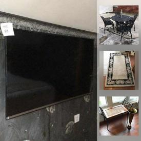 MaxSold Auction: This online auction features furniture such as a wicker chair, patio furniture, curio cabinets, Drexel Heritage sofa, dining table set, baker's rack, dresser, side tables, chairs and more, ladders, LG TV, deck boxes, gardening and lawn tools, Swarovski Crystal wine glasses, rugs, tools, golf clubs, hand tools, kitchenware, small kitchen appliances, glassware, lamps, clocks, Singer sewing machine in table and much more!