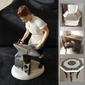 """MaxSold Auction: This online auction features NIB collector dolls, silver plate, Royal Doulton figurines, Toshiba 37"""" TV, furniture such as sectional sofa, wood side tables, swivel rocking chair, electric assist chair, and wall units, glassware, books, men's and women's clothing and footwear, antique cedar chest, handbags, framed wall art, computer accessories, small kitchen appliances, lamps and much much more!"""