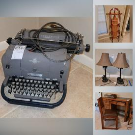 MaxSold Auction: This online auction features jewelry, home décor, luggage, Shark vacuum, furniture such as vintage school desk, Sprague and Carleton secretary desk, Young Hinkle desk and chair set, vintage Singer sewing machine and cabinet, futon, Templeton dresser, electronics such as HP printer, Altec Lancing computer speakers, Sylvania TV, health care items such as crutches, weights, and HoMedics back massager and much more!