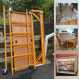 """MaxSold Auction: This online auction features portable scaffolding, furniture such as rocker recliner, side tables, curio cabinet, dining room table and chairs, and Miles Talbot sofa, wall art, small kitchen appliances, area rugs, 25"""" Sharp TV, lamps and much more!"""