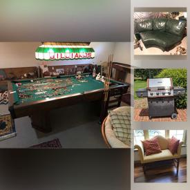 """MaxSold Auction: This online auction features pewterware, fine china, Lenox, vintage pinball machine, Brunswick pool table, furniture such as secretary cabinet, Statton desk, wooden dining table, vintage church pews and loveseat, outdoor tables and chairs, Brinkmann grill, yard decor, hand tools, area rugs, dishware, small kitchen appliances, framed wall art, grandfather clock, cabinets, books, costume jewelry, sports equipment, holiday decor, shuffleboard table, Samsung 50"""" TV, HP laptop, Kindle, Murano glass, shelving, Total Gym exercise system and much more!"""