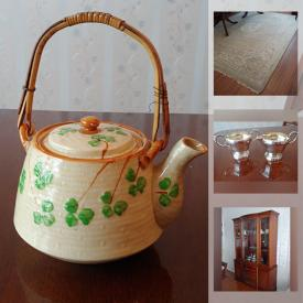 MaxSold Auction: This online auction features Antique Belleek Teapot, Antique Salt Pinchers, Collectible Spoons, Crystal Decanter, Antique Platters, Area Rugs and much more!
