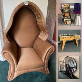 MaxSold Auction: This online auction features furniture such as a round china cabinet, dining table and chairs, Asian motif side table, lacquered loveseat, chairs, room divider, Asian motif table and stools, chaise lounge, display cabinet, Carson sofa, glass coffee table, Foosball table, folding tables, chairs and more, Christmas trees, chandelier, Shark steam mop, LPs, Precious Moments figurines, Christmas china, Mikasa china, lamps, light fixtures, Asian art, rugs, mirror and much more!