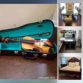 MaxSold Auction: This online auction features Patio Furniture, BBQ Grill, Area Rug, Banquette, Small Kitchen Appliances, Violin, Pulaski Nightstands, Beveled Glass Dining Table, Framed Art Work and much more!