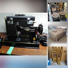 MaxSold Auction: This online auction features Bedroom Furniture, Wood & Metal Art, TVs, Wicker Chairs, Collectible Teacups, Patio Furniture, Toys, Kids Books, Games, Camping Gear, Vintage Sewing Machine, Snowshoes and much more!