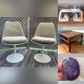 MaxSold Auction: This online auction features MCM Single Edition Print, MCM Saarinen Tulip Chairs, MCM Teak Furniture, Camera, Trundle Bed, Jewelry, Toys, Patio Furniture, Little Tikes Playhouse & Basketball Hoop, Live Plants, Water Table, Kids Trampoline, Fabric and much more!