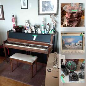 MaxSold Auction: This online auction features sterling jewelry, wooden piano, furniture such as La-Z-Boy power recliner, dresser, end tables, media cabinet, and wooden benches, HP desktop, computer accessories, signed wall art, dishware, ceramics, linen, books, CDs, DVDs, bookcases, costume jewelry, lamps and much more!