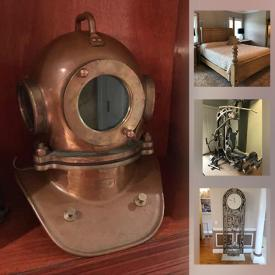 MaxSold Auction: This online auction features Howard Miller Floor Clock, Parlor Chair, Schnadig Chair, Floor Lamp, Handweights With Rack, Tanning Bed, Exercise Equipment, Vintage Diving Helmet, Firearm Safe and much more!