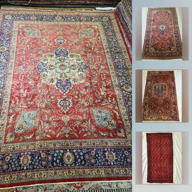 MaxSold Auction: This online auction features Hand-Knotted Wool Persian Rugs including Tabriz, Zanjan, Kashan, Turkman and other regional patterns.