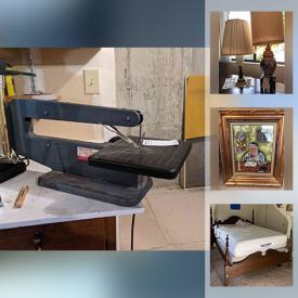MaxSold Auction: This online auction features MCM Furniture, Table Lamps, Stereo Components, Dining Room Table & Chairs, Small Kitchen Appliances, TV, Spindle Bed, Table Scroll Saw, Stoneware Jug and much more!