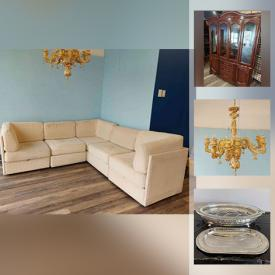 MaxSold Auction: This online auction features Sectional Sofa, New Capidomonte Chandelier, Open Sign, Bar Fridge, Silverplate Serving ware, Glass Shelves, Wall Brackets, Watches, Office Supplies, Doilies, Jewelry, and much more!