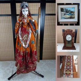 MaxSold Auction: This online auction features West Coast Wood Carving, Antique Gingerbread Clock, Vintage Wooden Puppet, Stereo Components, Original Oil Paintings, Vintage Toys, Guitar, Art Glass, Antique Violin, Vintage Drums, Telescope, Jerseys, Bossons Heads, Inuit Graphite Art, Vintage Postcards, Art Pottery, Vintage Bisque Dolls and much more!