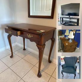 MaxSold Auction: This online auction features furniture such as a Strathroy Furniture console table, TV stand, upholstered chair, coffee table, patio furniture, wooden side tables, La-Z-Boy recliner sofa, dining table and chairs, metal filing cabinet, bookshelf, futon and more, Mink stole, towels, prints, Royal Doulton figures, Shark steam mop, Dirt Devil vacuum, dishware, small kitchen appliances, Royal Albert dishes, Samsung TV, mirror and much more!