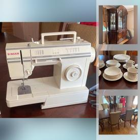 MaxSold Auction: This online auction features a Drexel Heritage sofa, wingback chair, coffee table, side tables, Singer sewing machine, stemware, Vintage Garden tea set, Pfaltzgraff dinnerware and more!